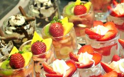 Whipped cream and strawberries dessert Royalty Free Stock Photos