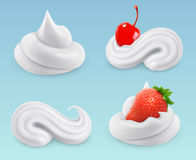 Whipped cream, sweet cream, cherries and strawberries. Vector set Royalty Free Stock Images