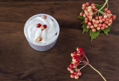 Whipped cream and wild fruits Royalty Free Stock Photos