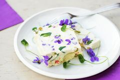 Whipped gelatin cream with vegetable and blooming flower Royalty Free Stock Image