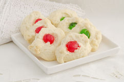Whipped Shortbread Cookies with Candied Cherries Stock Image