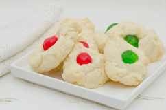 Whipped Shortbread Cookies with Candied Cherries Stock Images