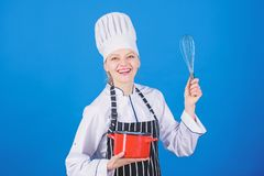 Whipping cream tips and tricks. Use hand whisk. Woman professional chef hold whisk and pot. Whipping like pro. Girl in royalty free stock photography
