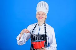 Whipping cream tips and tricks. Woman professional chef hold whisk and pot. Whipping like pro. Girl in apron whipping. Eggs or cream. Start slowly whisking royalty free stock photo