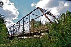 Whipple Truss Bridge. A whipple truss bridge spans the Big Raccoon River in Parke County near Bridgeton, Indiana Stock Photos
