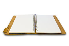 Whire leather notebook isolated. On white background stock image