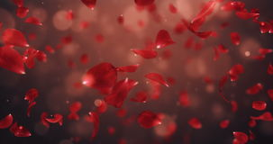 Whirl Flying Romantic Dark Red Rose Flower Petals Background Loop 4k stock video footage