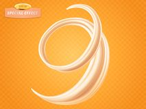 Whirl liquid cream or milk on orange background. Vector special flow effect. Packaging design element for stock illustration