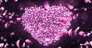 Whirl Rotating Pink Rose Sakura Flower Petals In Heart Shape Background Loop 4k stock footage