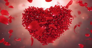 Whirl Rotating Red Rose Flower Petals In Lovely Heart Shape Background Loop 4k. Rotating animation of romantic flying in a whirl red rose flower petals in shape
