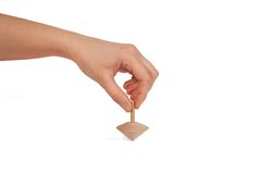 Whirligig with hand. On white background Stock Photo