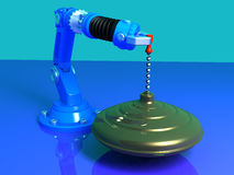 Whirligig with robot. Whirligig on a blue Background with robot 3D model Royalty Free Illustration