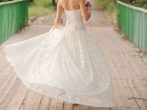 Whirling Bride on Bridge Royalty Free Stock Photography