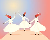 Whirling dervish. An illustration of three whirling dervishes dressed in white with red hats on a colorful background Royalty Free Stock Image