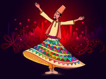 Whirling dervish on occasion of Ramadan Kareem celebration. Stock Image