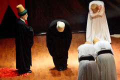 Whirling dervish (Semazen) ceremony of greeting Royalty Free Stock Photos