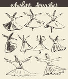 Whirling dervishes mevlana sufi hand drawn sketch Stock Photo