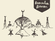 Whirling dervishes mevlana sufi hand drawn sketch Royalty Free Stock Image