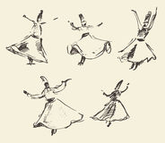 Whirling dervishes mevlana sufi hand drawn sketch Stock Image