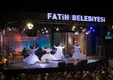 Whirling Dervishes performance Sultanahmet during Ramadan stock images