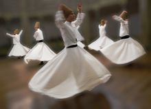 Whirling Dervishes practice their dance. In Istanbul, Turkey on Apr 30, 2016 Royalty Free Stock Photography
