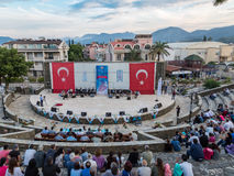 Whirling dervishes show and religious music concert for begining of ramadan at Marmaris amphitheater in Marmaris, Turkey. At Marmaris amphitheater in Marmaris Royalty Free Stock Image