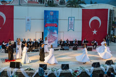 Whirling dervishes show and religious music concert for begining of ramadan at Marmaris amphitheater in Marmaris, Turkey Royalty Free Stock Photography