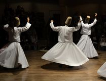 Whirling Dervishes show, sufi music, cappadocia, turkey royalty free stock image
