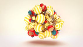Whirling Festive Multicolored Balls. A cheerful 3d rendering of whirling celebratory multicolored striped balls with golden spirals and cubes in the white Stock Images