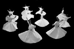 Whirling mevlevi dervis in worship show Galata Istanbul Stock Photo