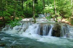 Whirling mountain river waterfall Stock Photo
