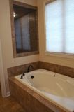 Whirlpool Bath Tub. Luxury whirlpool tub with stone deck and splash wall Stock Photo