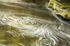 Whirls and vortices on flowing water. Streamlines of bubbles and foam on a fast flowing river indicating whirls, eddies and vortices adjacent to bank and  rocky Stock Photo