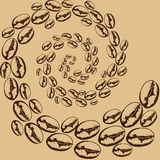 Whirlwind of coffee beans. Pattern of coffee beans in the twisted spiral Royalty Free Stock Image