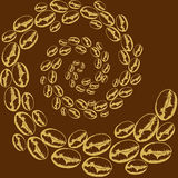 Whirlwind of coffee beans. Pattern of coffee beans in the twisted spiral Royalty Free Stock Photo