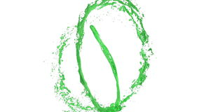 Whirlwind of green liquid like car paint on white background. Beautiful colored paint is whirling. Isolated transparent stock footage