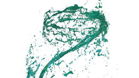 Whirlwind of liquid like juice on white background. Beautiful colored paint is whirling. Isolated transparent vortex of stock footage