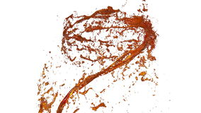 Whirlwind of orange liquid like juice on white background. Beautiful colored paint is whirling. Isolated transparent stock video footage