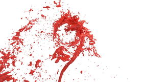 Whirlwind of red liquid like car paint on white background. Beautiful colored paint is whirling. Isolated transparent stock video footage