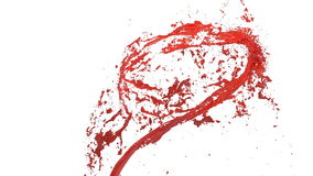 Whirlwind of red liquid like car paint on white background. Beautiful colored paint is whirling. Isolated transparent vector illustration