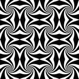 Whirly seamless pattern. Whirly black and white geometric seamless pattern. Abstract background stock illustration