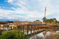 Whirokino Bridge Construction. Construction Bridge just about right across the Manawatu river Stock Photo