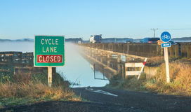 Whirokino Cycle Road Closed. Whirokino cycle lane get closed when the floodway is in use Royalty Free Stock Image