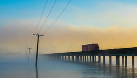 Whirokino Trestle Bridge Mist Dawn Stock Photo