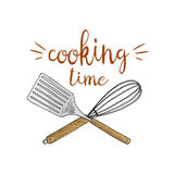 Whisk or kitchen, cooking stuff for menu decoration. baking logo emblem or label, engraved hand drawn in old sketch or Royalty Free Stock Images