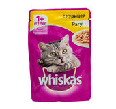 Whiskas chicken ragout, pouches of cat food. Royalty Free Stock Photo