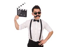 Whiskered man with clapperboard holding isolated Royalty Free Stock Image
