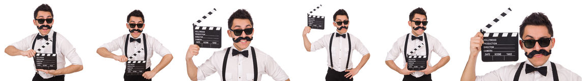 The whiskered man with clapperboard holding isolated on white Royalty Free Stock Photos