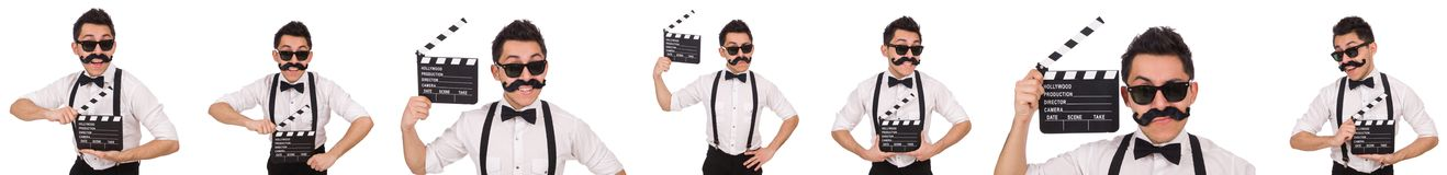 The whiskered man with clapperboard holding isolated on white Stock Photos