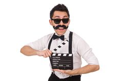 Whiskered young man with clapperboard isolated on Royalty Free Stock Photos